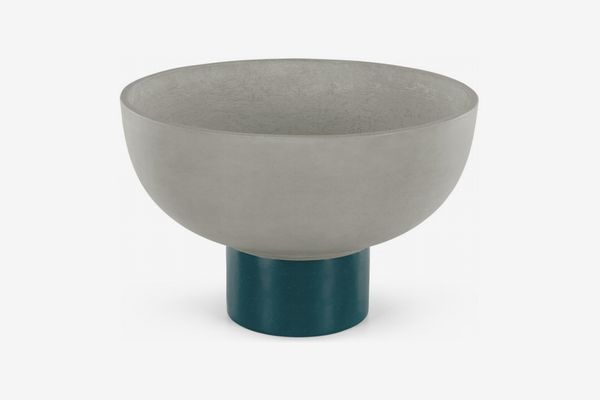 Terango Round Fibre Cement Planter, Grey & Green