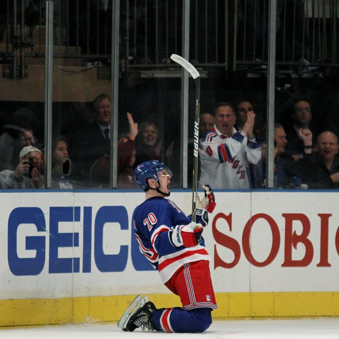 NEW YORK, NY - APRIL 28: Chris Kreider #20 of the New York Rangers celebrates his third period goal in Game One of the Eastern Conference Semifinals against the Washington Capitals during the 2012 NHL Stanley Cup Playoffs at Madison Square Garden on April 28, 2012 in New York City. (Photo by Bruce Bennett/Getty Images)