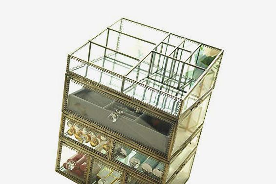 Hersoo Antique Spacious Mirror Glass Drawers
