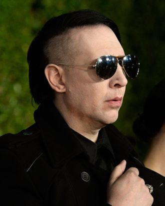 HOLLYWOOD, CA - SEPTEMBER 27: Musician Marilyn Manson arrives at the Premiere Of HBO's Final Season Of