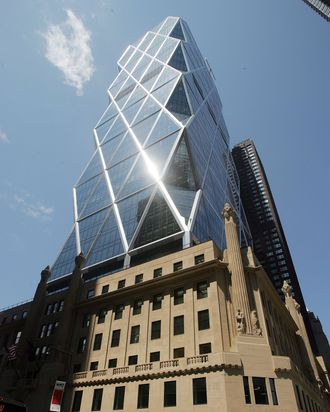 NEW YORK - JUNE 15: The new Hearst Tower stands June 15, 2006 in New York City. The new world headquarters of the Hearst Corporation opened in May and sits atop a six-story Art Deco pedestal built in 1928. (Photo by Mario Tama/Getty Images)
