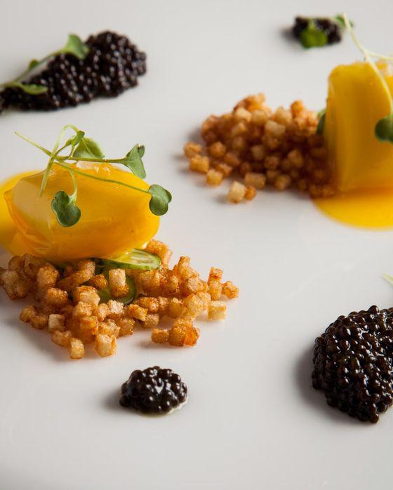Egg-and-mashed-potato ravioli with caviar.