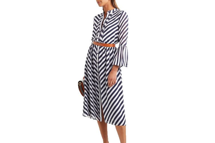 MICHAEL MICHAEL KORS Striped georgette midi dress