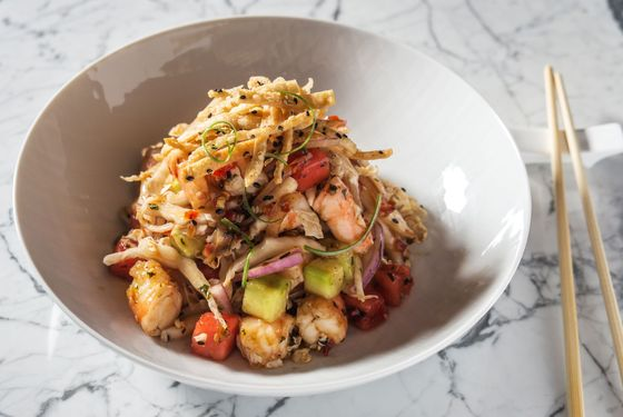 Gulf shrimp with watermelon, cucumber, napa cabbage, sesame, and crispy wonton.