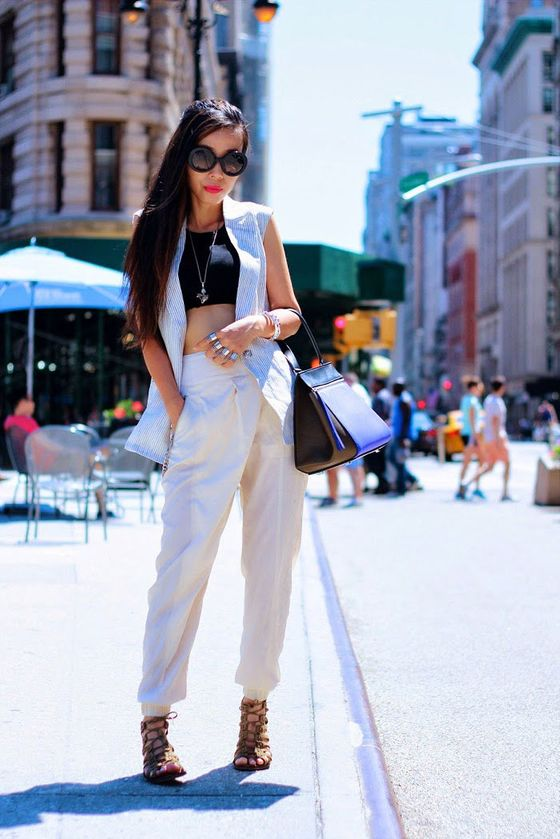 "Sasa Zoe, shot in New York for <a href=""http://www.shallwesasa.com/"">Shall We Sasa</a> via <a href=""http://lookbook.nu/look/6402370-Cline-Purse-Vest-Pants-Sandals-Shall-We-Sasa-Edge"">Lookbook</a>."
