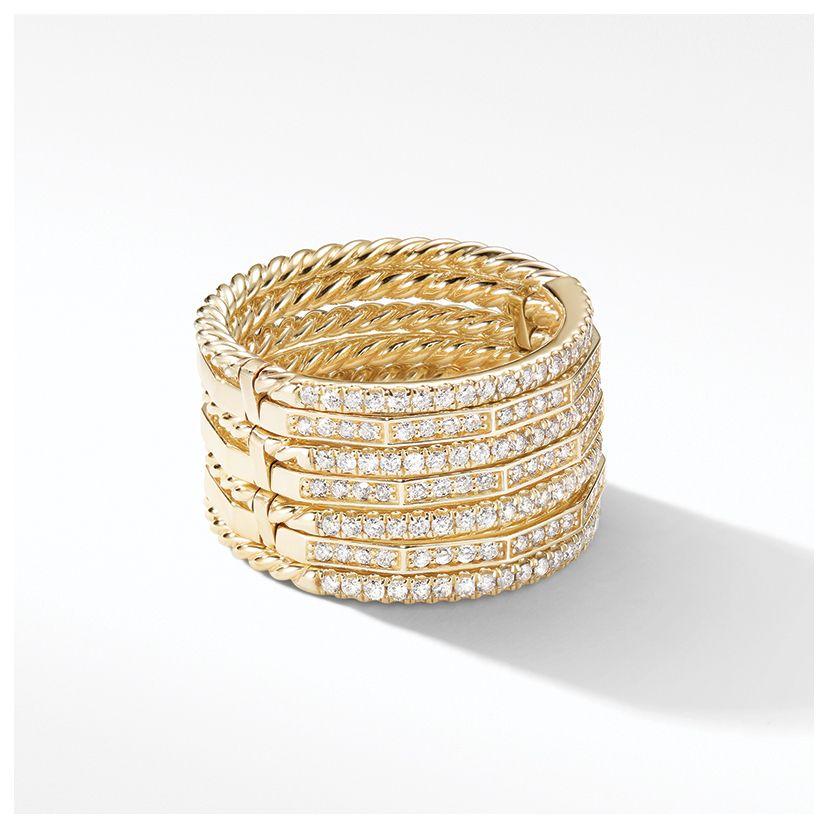Stax Full Pavé Ring in 18K Yellow Gold