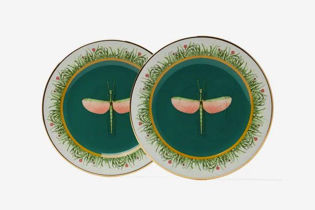 La DoubleJ Dragonfly-print porcelain dessert plates