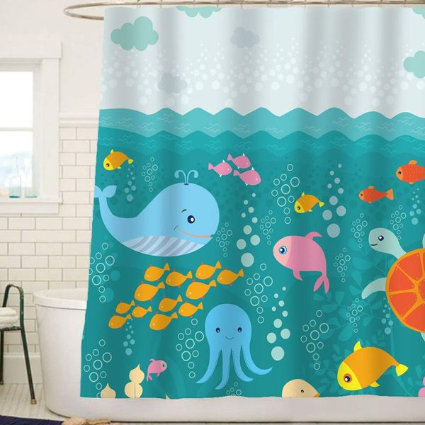 Sunlit Sea Creatures Fabric Shower Curtain for Kids