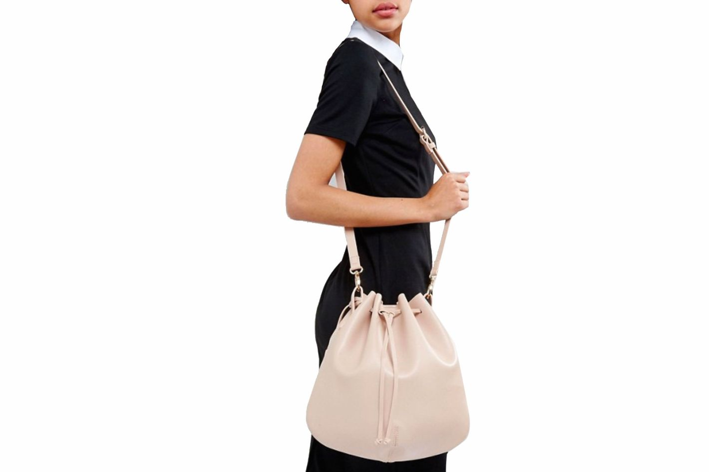 Glamorous Blush Drawstring Duffle Shoulder Bag