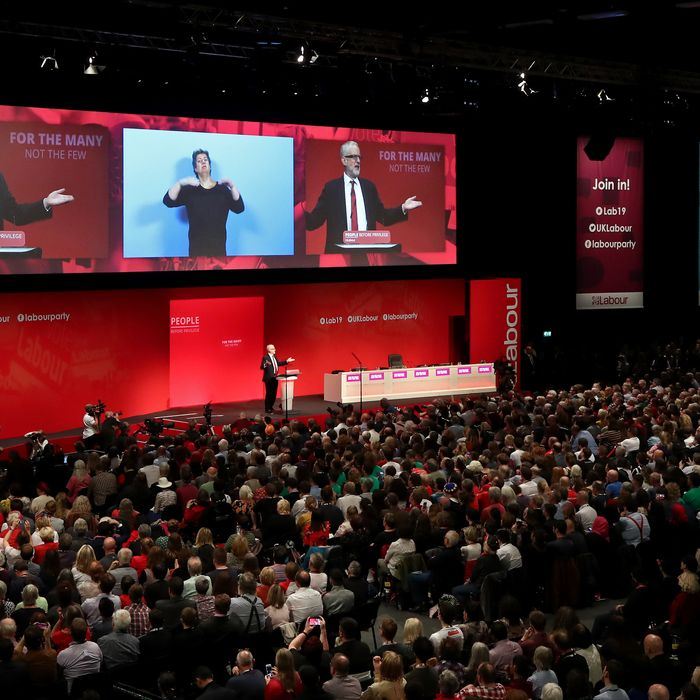 Labour leader Jeremy Corbyn speaking at the party's Annual Conference at the Brighton Centre in Brighton, East Sussex.