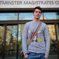 Sheffield student, Richard O'Dwyer, arrives at Westminster Magistrates Court in central London on January 13, 2012, to receive judgment on an extradition request by the US authorities to stand trial on charges of copyright infringement and conspiracy to infringe a copyright.  AFP PHOTO / CARL COURT (Photo credit should read CARL COURT/AFP/Getty Images)