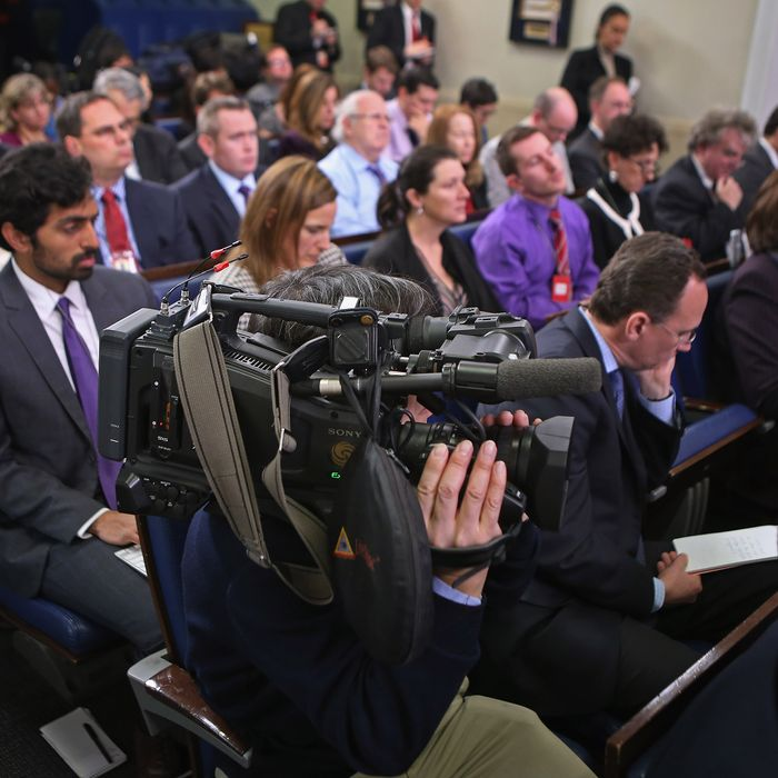 WASHINGTON, DC - JANUARY 08: Reporters listen to White House Press Secretary Jay Carney as he conducts the daily news briefing in the James Brady Press Briefing Room at the White House January 8, 2013 in Washington, DC. Carney said that the White House will not negotiate with Congress about raising the national debt ceiling. (Photo by Chip Somodevilla/Getty Images)
