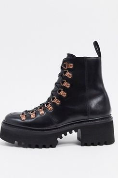 Grenson Nanette Black Leather Patent Chunky Hiker Boots with Rose Gold Hardware