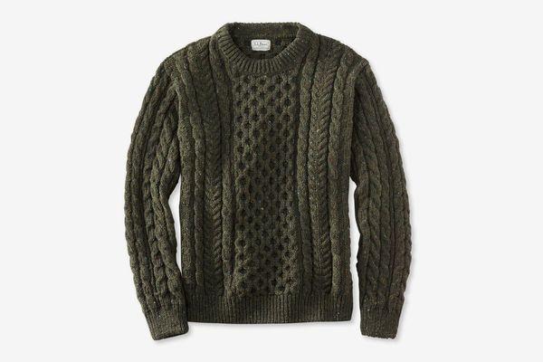 L.L. Bean Heritage Sweater Irish Fisherman's Crewneck