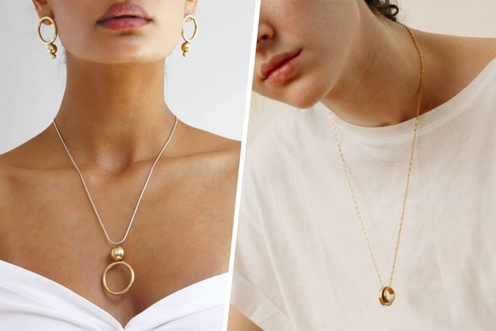 The gold pendant necklace jewelry trend of summer 2017 geometric gold pendants are the jewelry trend of the summer aloadofball Images