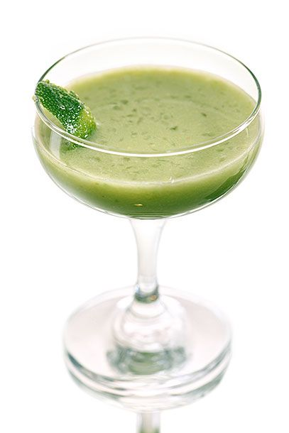 "<b>Ojos Verdes</b>  <i><a href=""http://thegibsondc.com/"">The Gibson</a></i>  This has to be the only avocado cocktail we've ever seen: In a shaker, combine 1 1/2 ounces aquavit, 1 ounce lime juice, 2 spoons of ripe avocado flesh, 1/2 ounce simple syrup, and 2 dashes <a href=""http://the-bitter-truth.com/bitter/original-celery-bitters/"">celery bitters</a>. Shake with ice and double strain through a sieve into a chilled martini glass. Garnish with a lime peel or wedge."