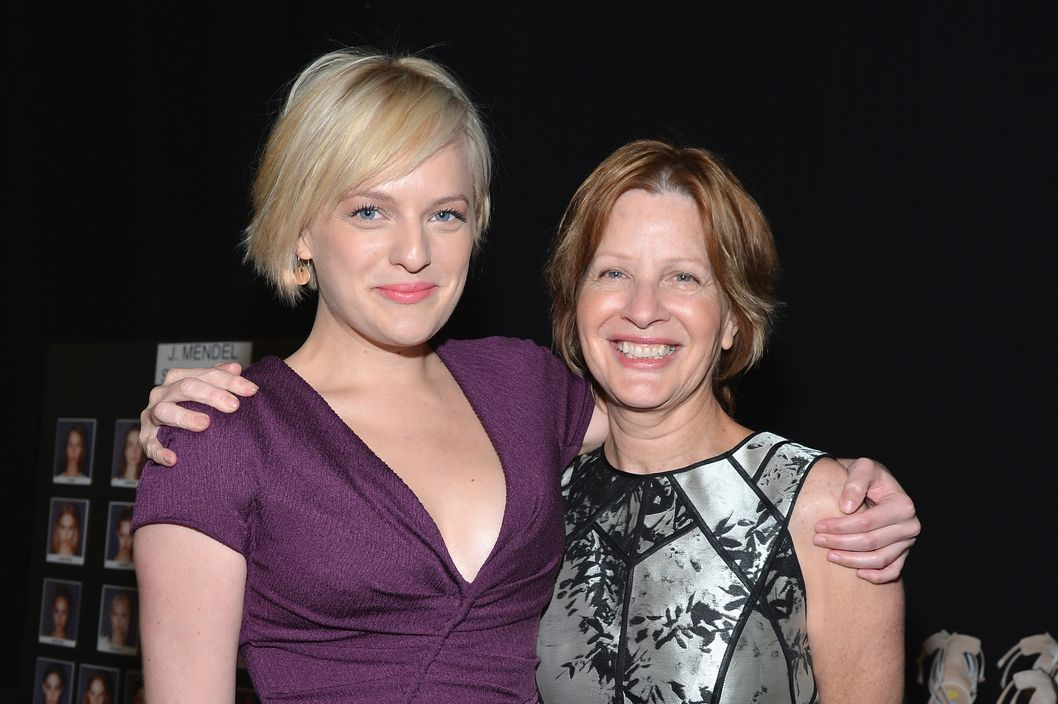 NEW YORK, NY - SEPTEMBER 12:  Elisabeth Moss and mother poses backstage at the J. Mendel Spring 2013 fashion show during Mercedes-Benz Fashion Week at The Theatre Lincoln Center on September 12, 2012 in New York City.  (Photo by Mike Coppola/Getty Images for Mercedes-Benz Fashion Week)