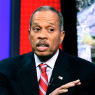"News analyst Juan Williams appears on the ""Fox & friends"" television program in New York, Thursday, Oct. 21, 2010. Williams, who has written extensively on race and civil rights in the U.S., has been fired by National Public Radio after comments he made about Muslims on Fox News Channel's ""The O'Reilly Factor,"" on Monday."