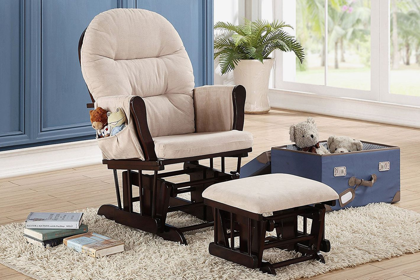 Naomi Home Brisbane Glider Ottoman Set With Cushion