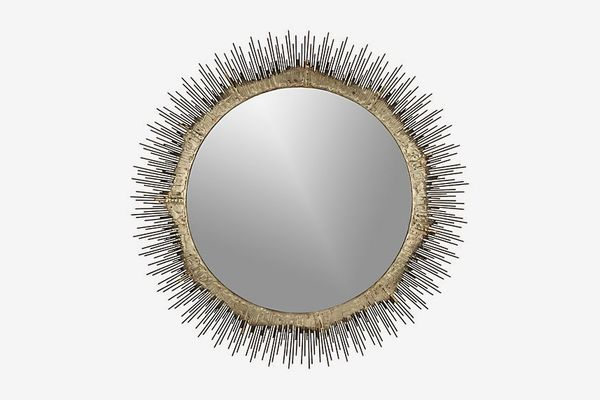 Crate & Barrel Clarendon Brass Small Round Wall Mirror