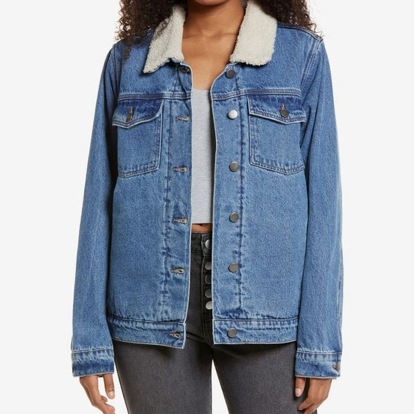 Denim Trucker Jacket with Faux Shearling Collar