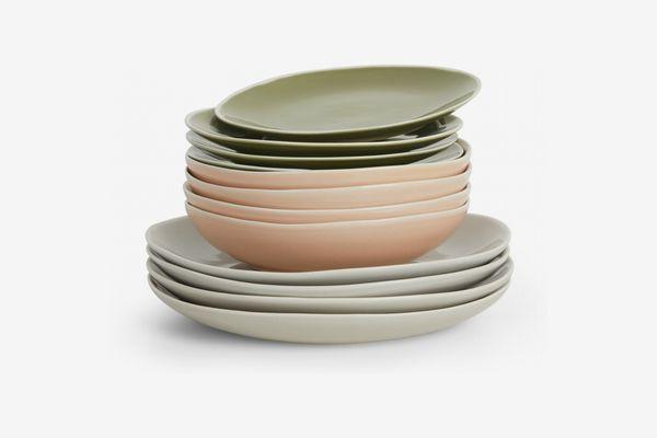 Noah 12 Piece Dinner Set, Pink Green and Grey