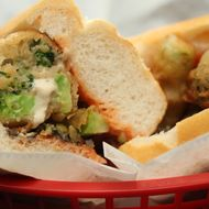 The (totally vegan) broccoli tempura sub.