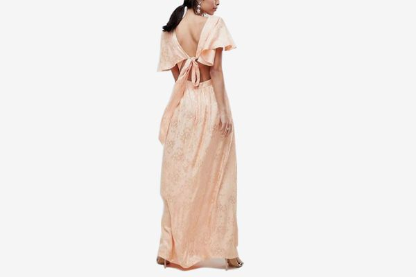 Soft Jacquard Maxi Dress With Flutter Sleeve