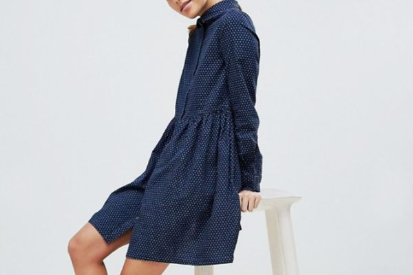 French Connection Indigo Cross Gathered Denim Shirt Dress