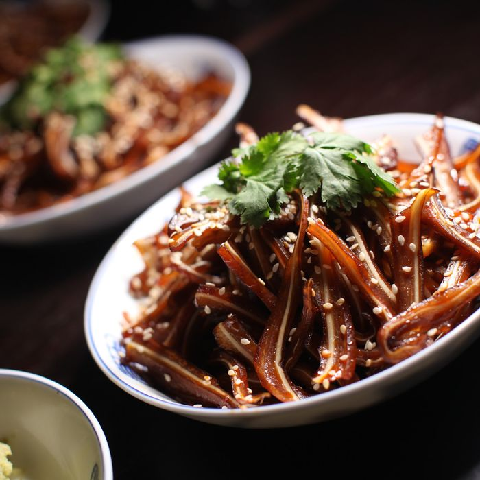 Shredded Pig Ears in Sesame Chili Sauce.