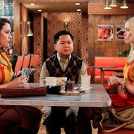 """And The 90's Horse Party"" -- Han Lee (Matthew Moy, center) joins Max (Kat Dennings, left) and Caroline (Beth Behrs, right) as they count their earnings from a 90s-themed party they threw to raise funds for their cupcake business, on 2 BROKE GIRLS, Monday, Oct. 17 (8:30-9:00 PM, ET/PT) on the CBS Television Network. Photo: Cliff Lipson/CBS ©2011 CBS Broadcasting, Inc. All Rights Reserved."