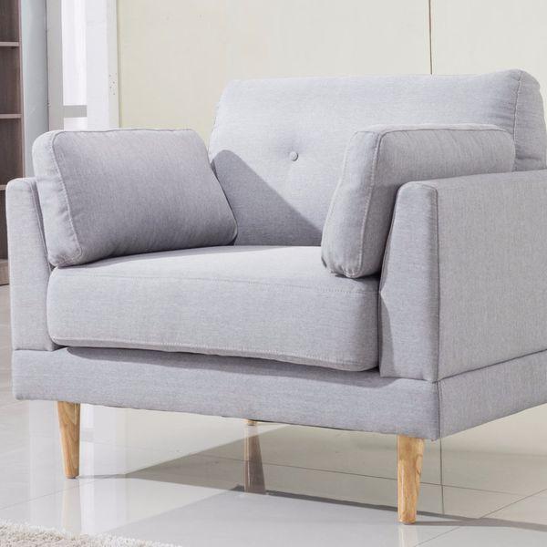 Mid-Century Modern Linen Fabric Accent Chair, Light Grey