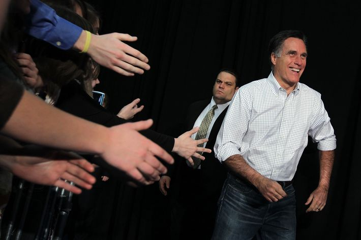 IDAHO FALLS, ID - MARCH 01:  Republican presidential candidate, former Massachusetts Gov. Mitt Romney arrives at a campaign rally at Skyline High School on March 1, 2012 in Idaho Falls, Idaho. After winning the Michigan and Arizona primaries, Mitt Romney is campaigning in North Dakota, Idaho and Washington ahead of Super Tuesday.  (Photo by Justin Sullivan/Getty Images)