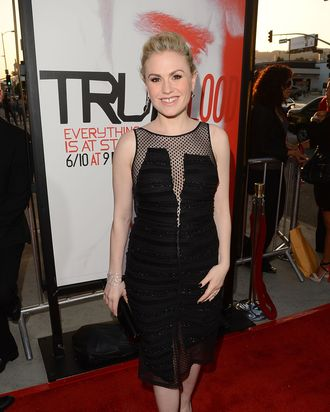 HOLLYWOOD, CA - MAY 30: Actress Anna Paquin arrives at HBO 'True Blood' season 5 premiere held at ArcLight Cinemas Cinerama Dome on May 30, 2012 in Hollywood, California. (Photo by Jason Merritt/Getty Images)