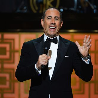 Comedian Jerry Seinfeld speaks onstage at Spike TV's