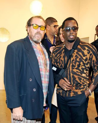 MIAMI BEACH, FL - NOVEMBER 30: Julian Schnabel and Sean Combs attends Art Basel Miami Beach at the Miami Beach Convention Center on November 30, 2011 in Miami Beach, Florida. (Photo by Rabbani and Solimene Photography/Getty Images)