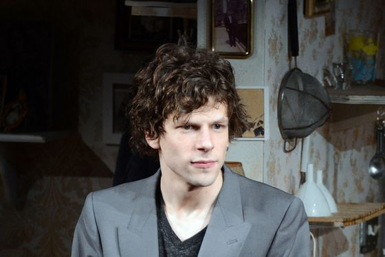 "NEW YORK, NY - FEBRUARY 28:  Actor Jesse Eisenberg takes his bow at ""The Revisionist"" opening night at Cherry Lane Theatre on February 28, 2013 in New York City.  (Photo by Andrew H. Walker/Getty Images)"