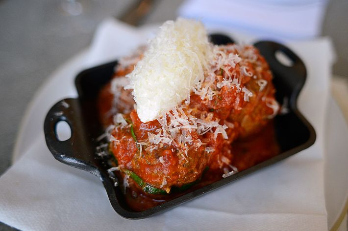 Di Meglio updates his grandmother's meatball recipe with dry-aged beef and sheep's-milk ricotta.