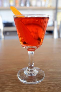The house Negroni, made with Perry's Tot gin, Campari, and Cocchi Vermouth di Torino.