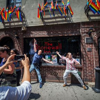 Crowds Celebratre Same Sex Marriage Ruling At Stonewall Inn