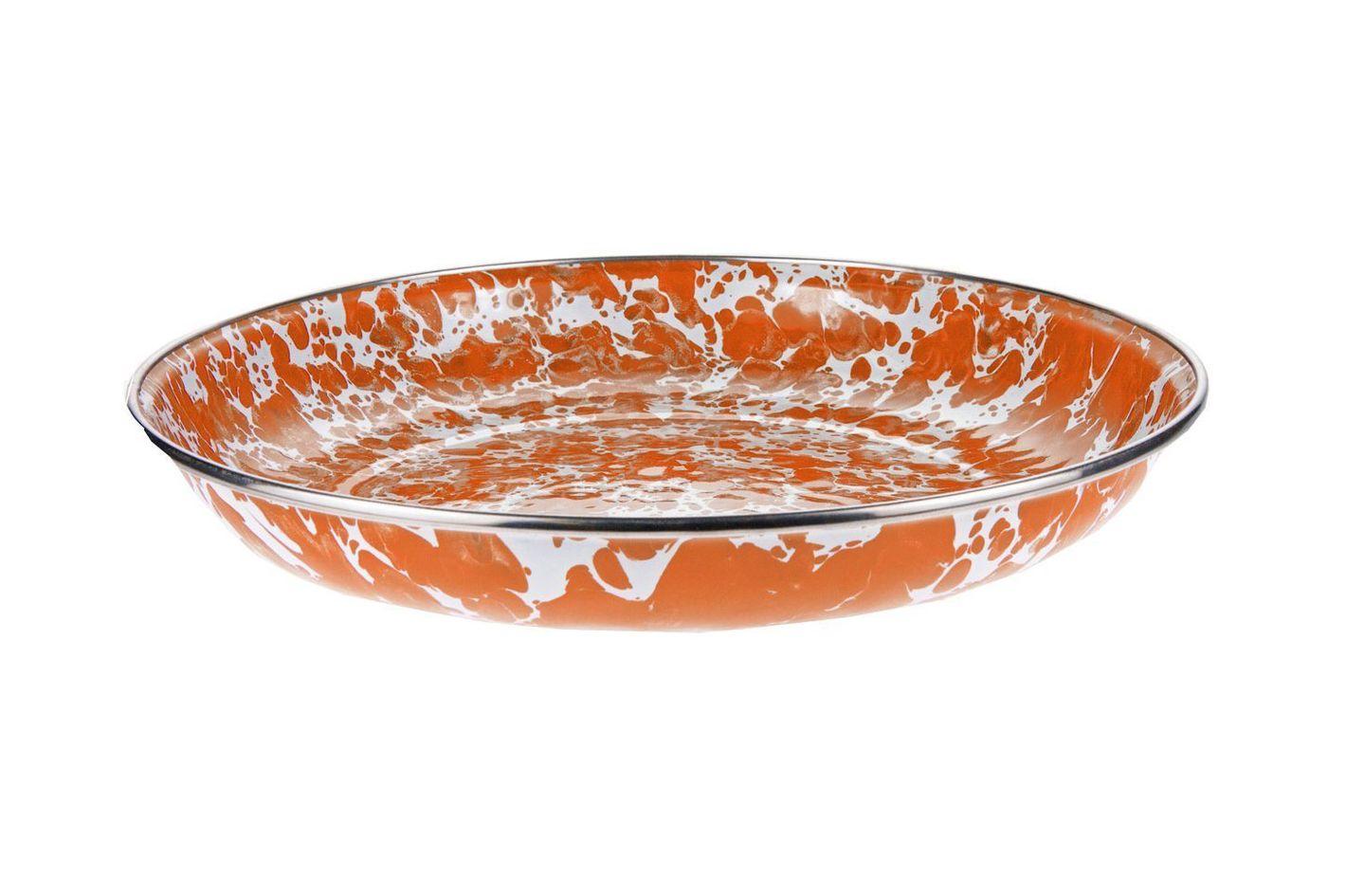Enamelware — Orange Swirl Pattern, 10-Inch Pasta Plate