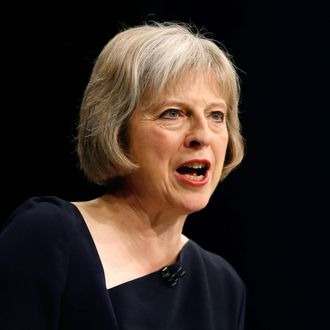 Britain's Home Secretary Theresa May speaks on the third day of the Conservative Party Conference in Manchester northern Britain