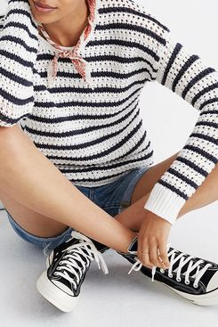 Madewell Striped Open-Stitch Austen Pullover Sweater