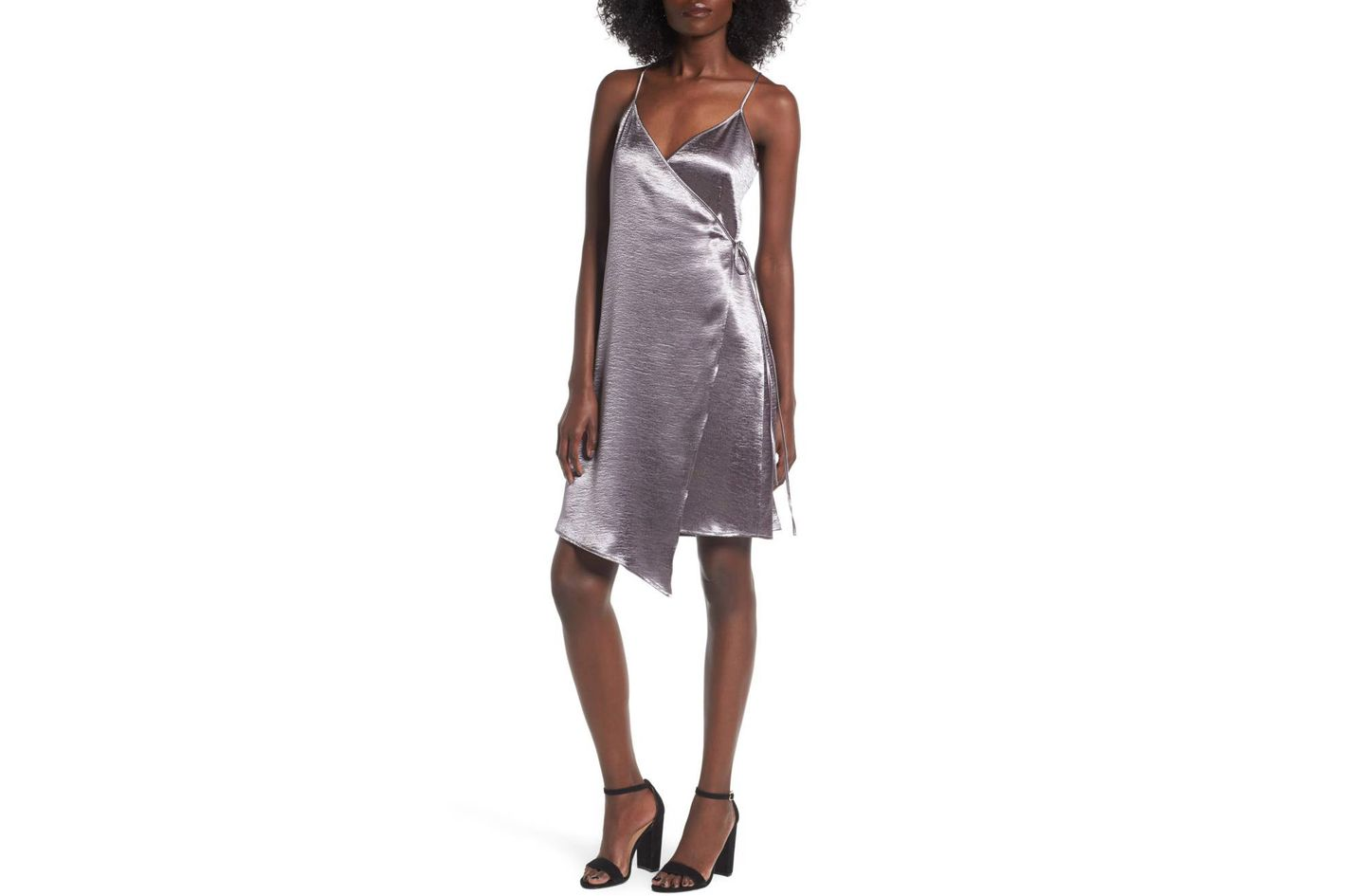 Textured Satin Wrap Dress