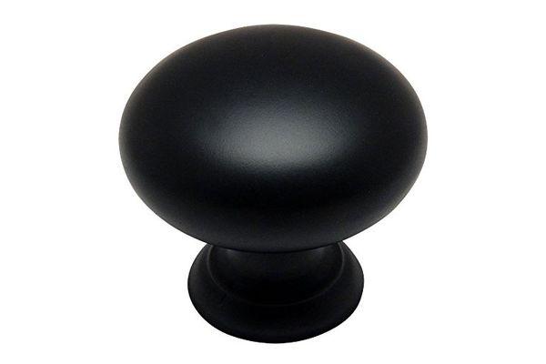 "Cosmas 4950FB Flat Black Cabinet Hardware Round Mushroom Knob — 1-1/4"" Diameter — 10 Pack"