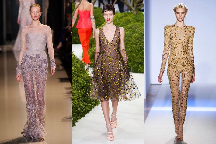Looks from Valentino, Christian Dior, and Zuhair Murad.
