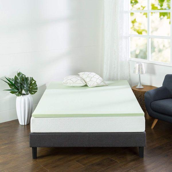 Zinus 1.5-Inch Green Tea Memory Foam Mattress Topper