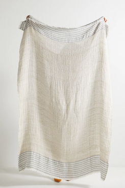 Anthropologie Home Striped Linen Throw Blanket
