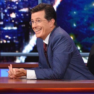Republican Presidential candidate Jeb Bush chats with Stephen on the premiere of The Late Show with Stephen Colbert, Tuesday Sept. 8, 2015 on the CBS Television Network. Photo: Jeffrey R. Staab/CBS ©2015 CBS Broadcasting Inc. All Rights Reserved