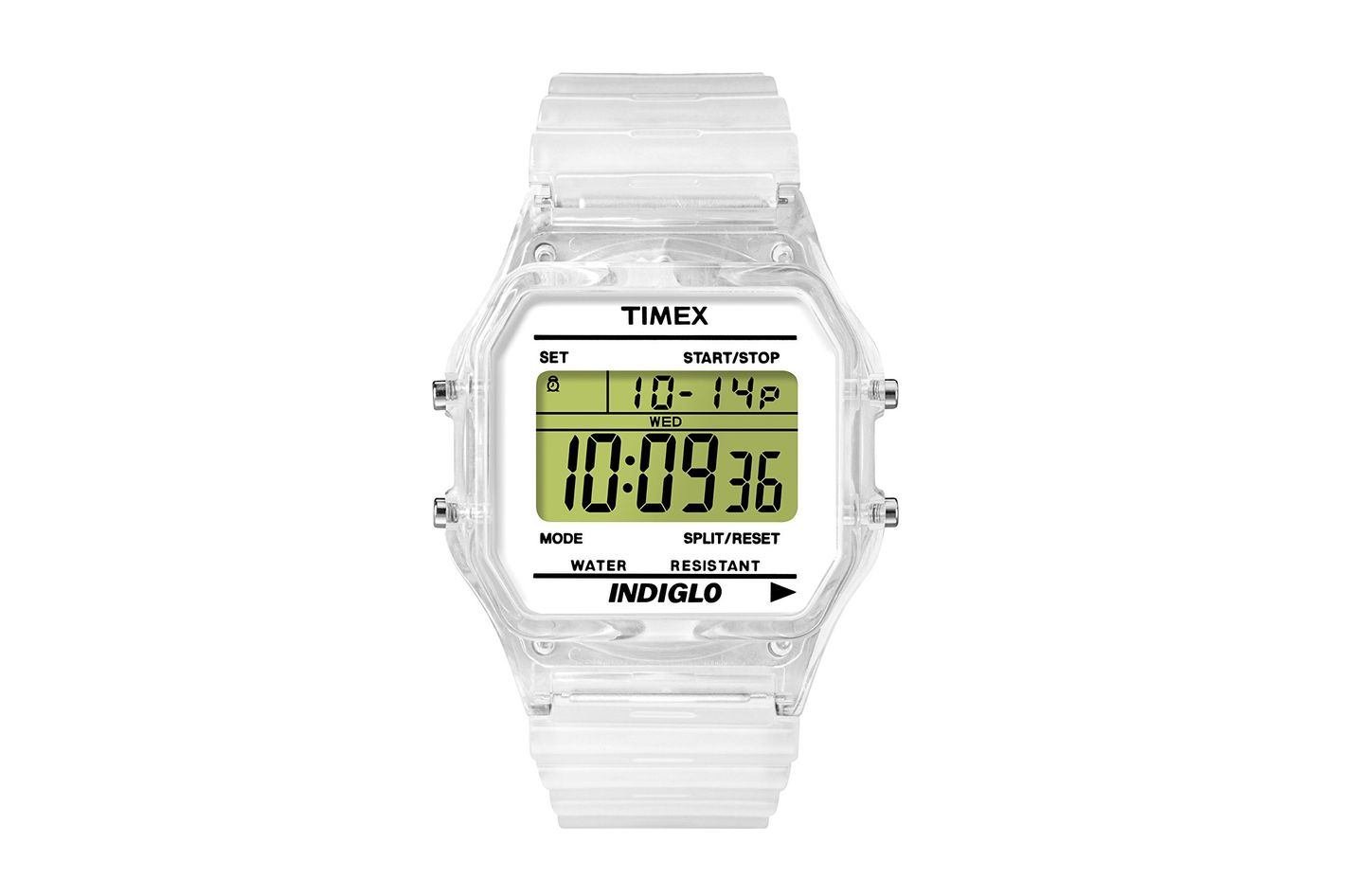 Timex Unisex T2N803 Classic Digital Clear Translucent Case and Strap Watch